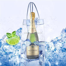 Wholesale Custom Waterproof Wine Bottle Plastic PVC Bag For Beer Champagne Drink Cooler Chiller Drink Pouch