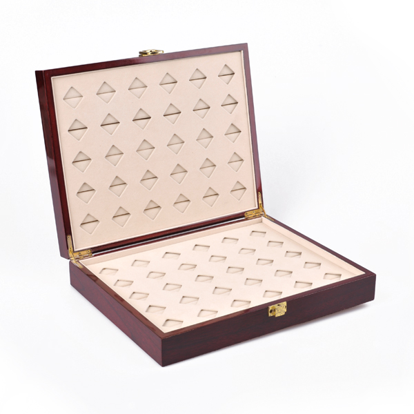 Luxury 60pcs wooden jewelry ring/cufflink display/tray box