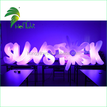 Top Quality Multi-color Inflatable Lighting Words / Oxford Cloth Advertising LED Signage Letter Lights