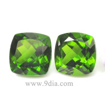 7*7 Natural Cushion Chrome Diopside for silver Jewelry