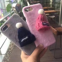 Alibaba Express Warm Christmas Gift Fur Hat Hard Case Cover For iPhone 7 7 plus