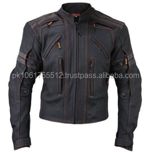 Top quality cow real leather motorcycle jacket with armors for men