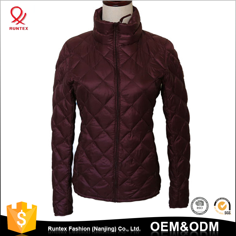 Fashion OEM Women winter Slim stand collar Packable thin Down Jacket for women