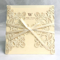 White gold wholesale pocket fold invitations,wedding invitations made in china