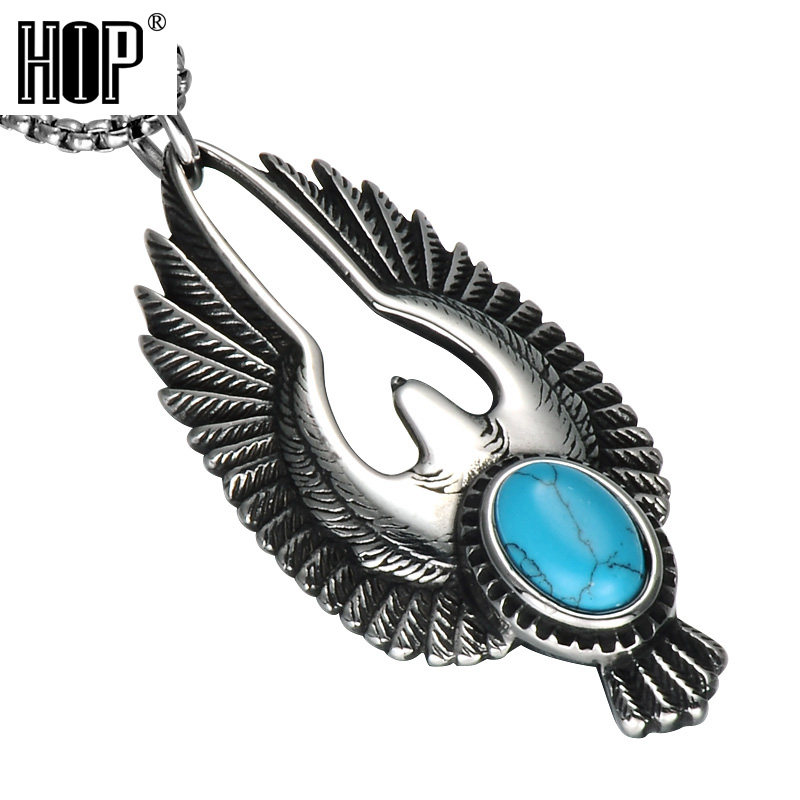 Punk Style Mens Stainless Steel Eagle With Turquoise Necklace