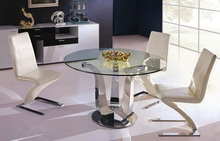 glass top round dining table