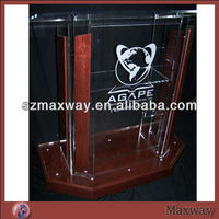 modern design acrylic church lectern with wooden edge