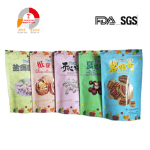 Custom size plastic stand up round bottom plastic zip lock pouch bag for snack