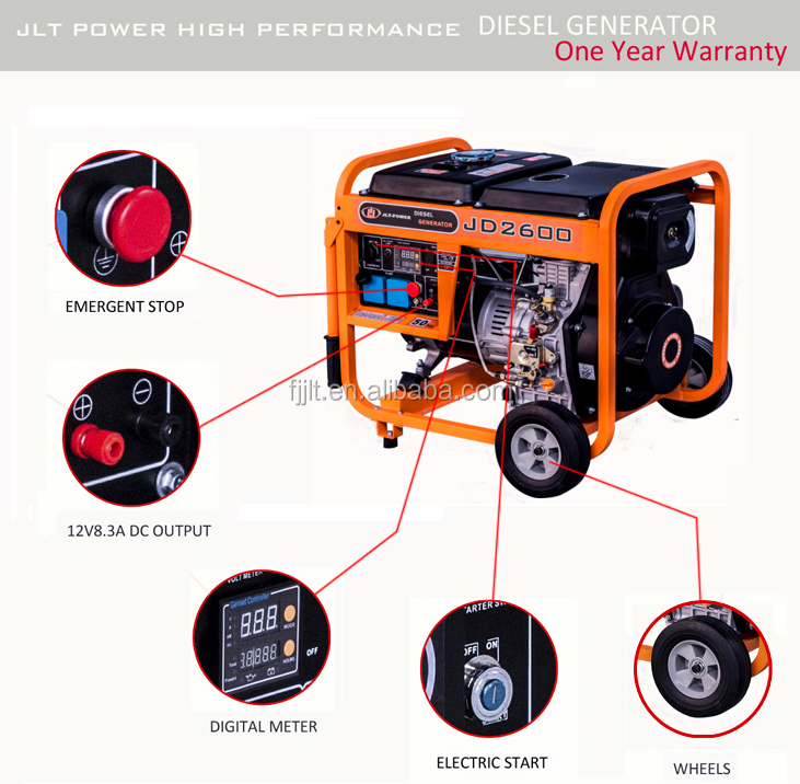 The useful generator for home use ! 2 kva portable diesel gen