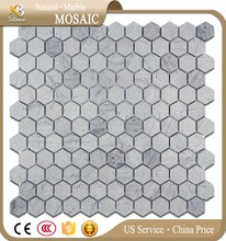 Blue Wooden Hexagon Marble Mosaic Tile swimming pool mosaic tiles