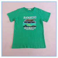 Boys custom 100% cotton summer bus print T-shirt, high quality t shirt for children, plain bus printed t shirts