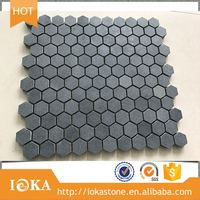 "cheap natural black Basalt Nature Stone 2"" Hexagon grey Mosaic floorTile 2 inch"