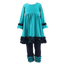 High quality name brand baby girls ruffle clothing set little girls fall autumn clothes girls dress set