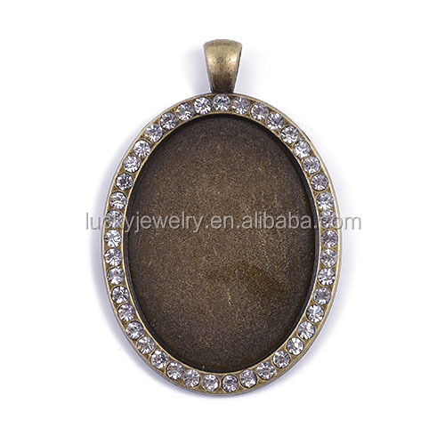 High Quality Trays Pendant Charm Pendant Bezel Pendants Blanks Base Settings DIY Accessories Fits Cabochon in Oval Shape