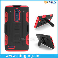 3 in 1 Hard PC Silicone Belt Clip Holster Case For ZTE Zmax Pro Z981 Kickstand Case