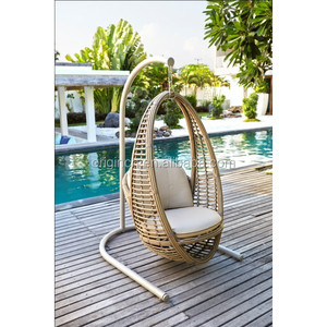 Oval deep sitting unique balcony thick rattan swing furniture patio hanging pod chair