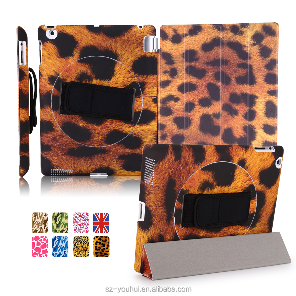Factory Outlet Ultra Slim 360 Rotation Handheld Smart Magnetic PU Leopard Wood Design Cover Case for iPad 2/3/4