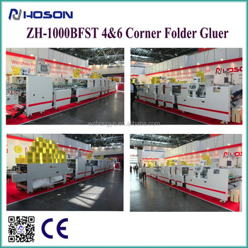 HOSON ZH-1000BFST Automatic 4 6 Corner Cardboard/Corrugated Pizza Box Folder Gluer Machine