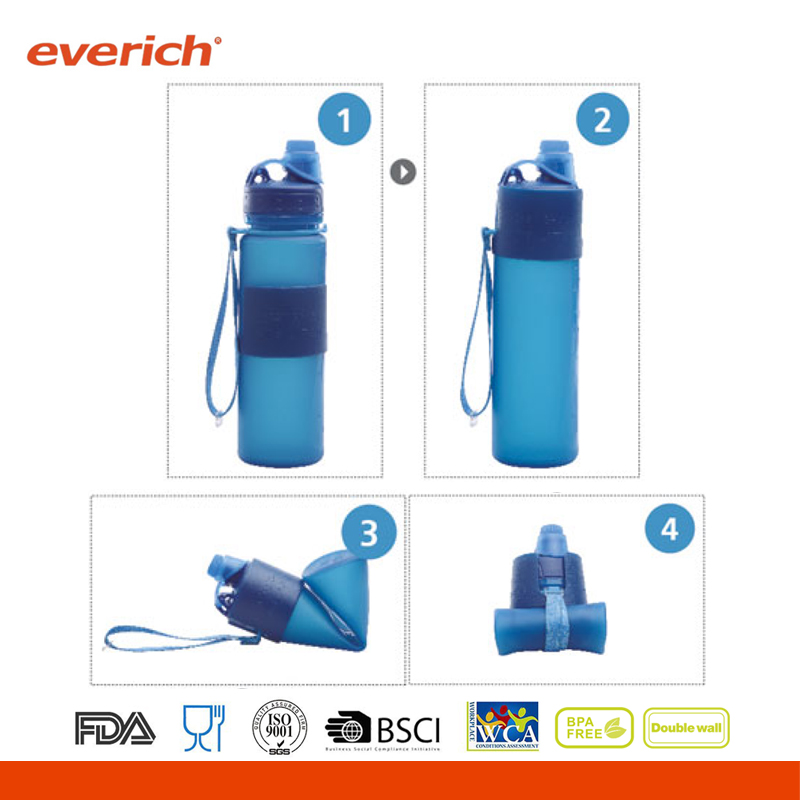 China BPA Free Silicone Collapsible Folding Sports Water Bottle
