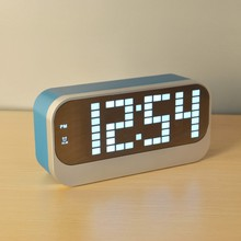LED mirror digital desktop alarm clock with time date and temperature for kids