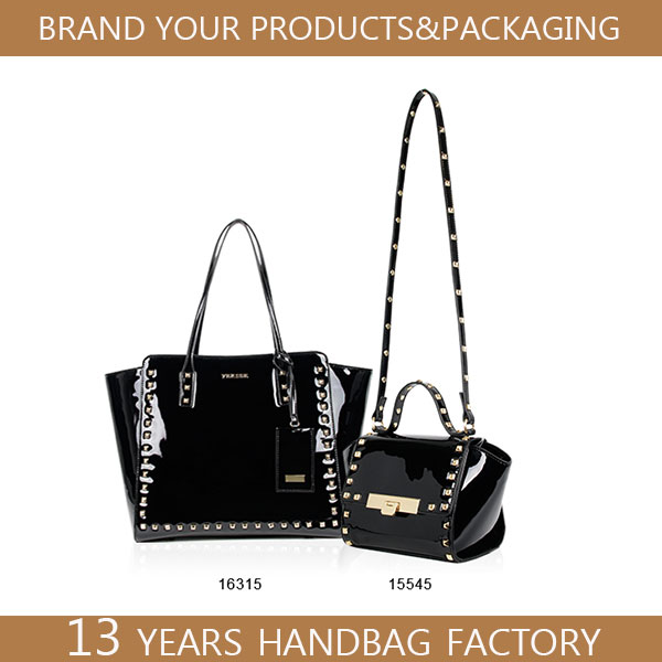 bag studs fend strap patent shiny black leather bag women with metal studs