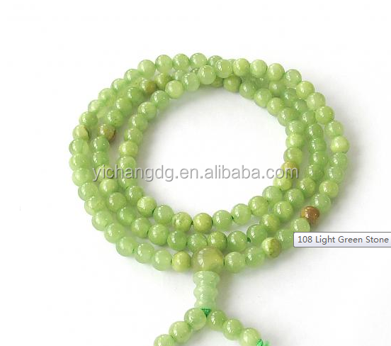 Women Men 6mm 108 Light Green Stone Beads Necklace Tibetan Buddhist Prayer Mala Necklace
