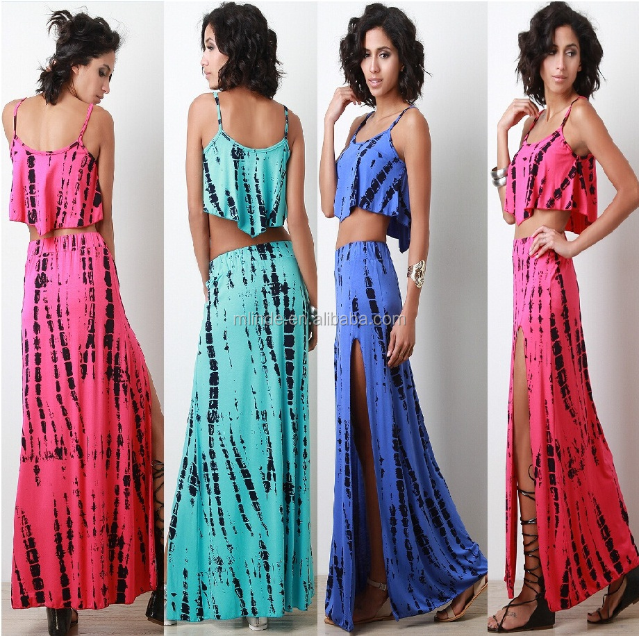 two piece tie dye outfits for women Tie Dye Crop Top Midi-length pencil skirt ladies two piece outfits women