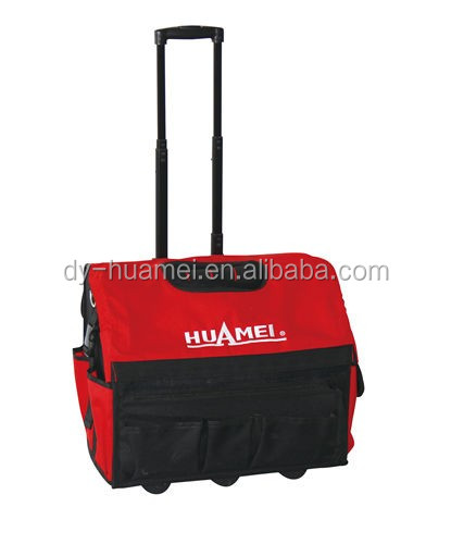 18 in Rolling Heavy Duty Portable Tool Bag On Wheels