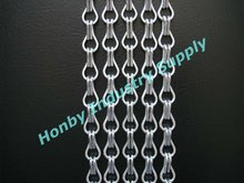 Deft design standard 12mm silver color aluminum chain fly curtain for kitchen