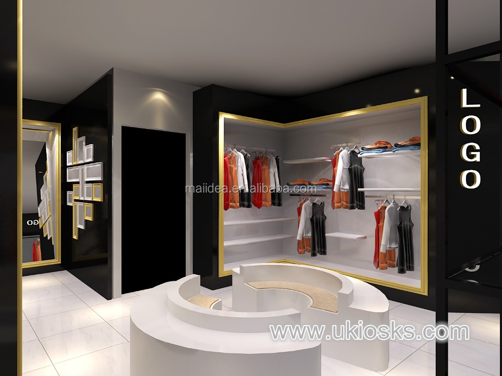 Professional ladies clothing shop interior design and t-shirt clothes shop decoration