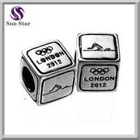 Silver beads for jewelry making london 2012 olympics swimming games charms track and field athletics beads for bracelet