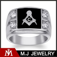 stainless steel men's cubic zirconia masonic ring