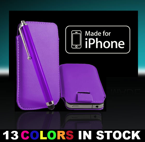 Best Selling Leather Case Cover Pouch Sleeve for iPhone 5 5S 5C Color Purple