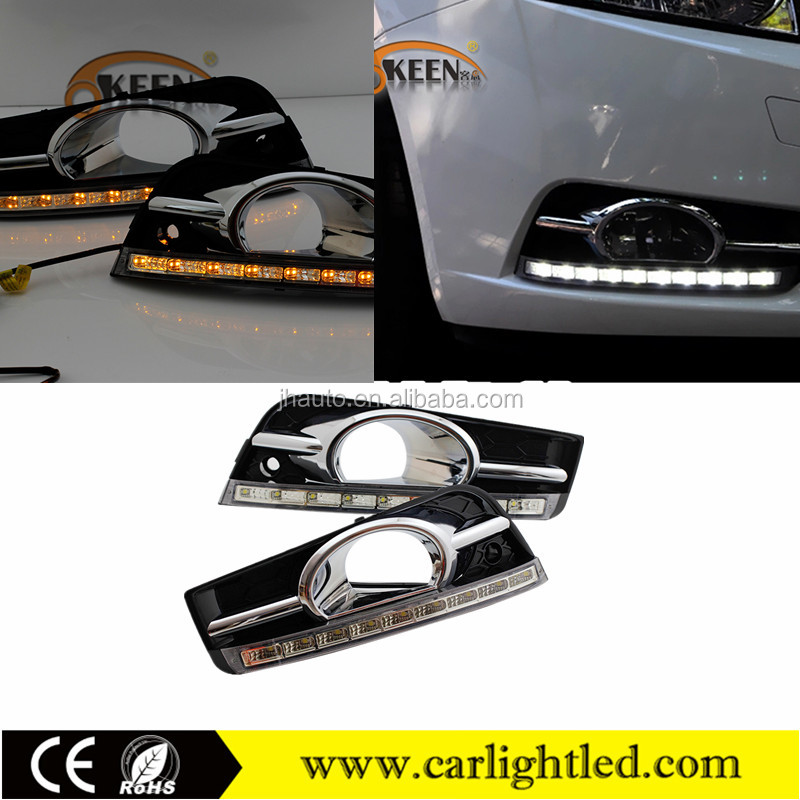 For Chevrolet Cruze 2009-2013 Car LED Daylight DRL Waterproof Led Daytime Running Light With Amber Turn Signal