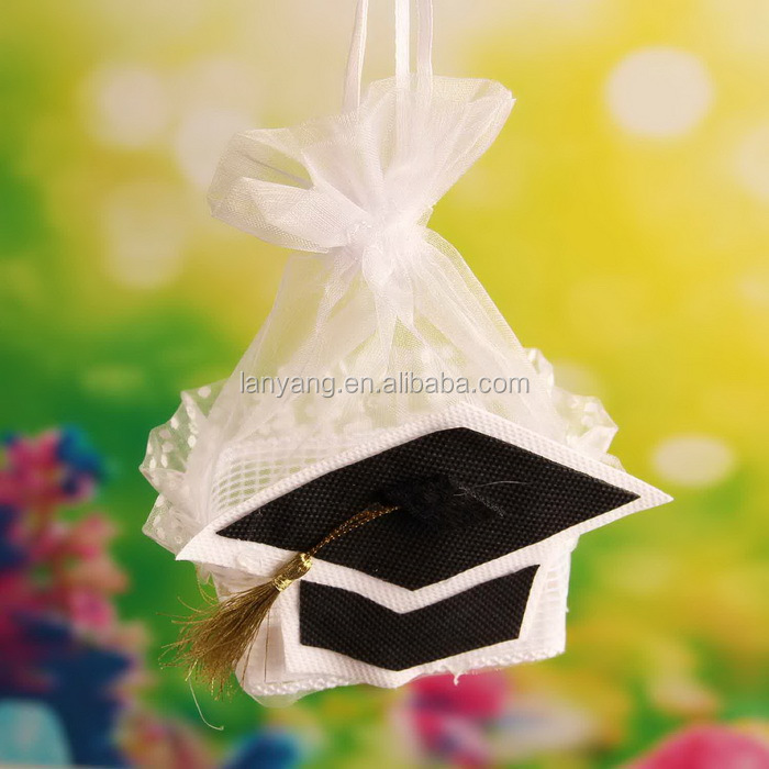 Black Graduation Hat Basket White Organza Tote Favor Bags with Drawstring