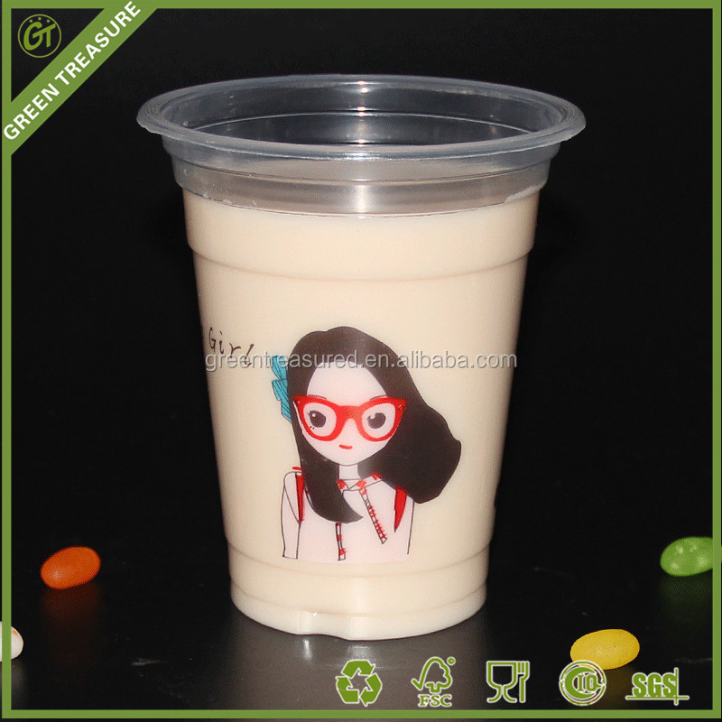 2016 High Transparent Soda Drink Beverage Plastic Cup/Bubble Tea Cup/Milk Shake Large Tea Cups with Straw
