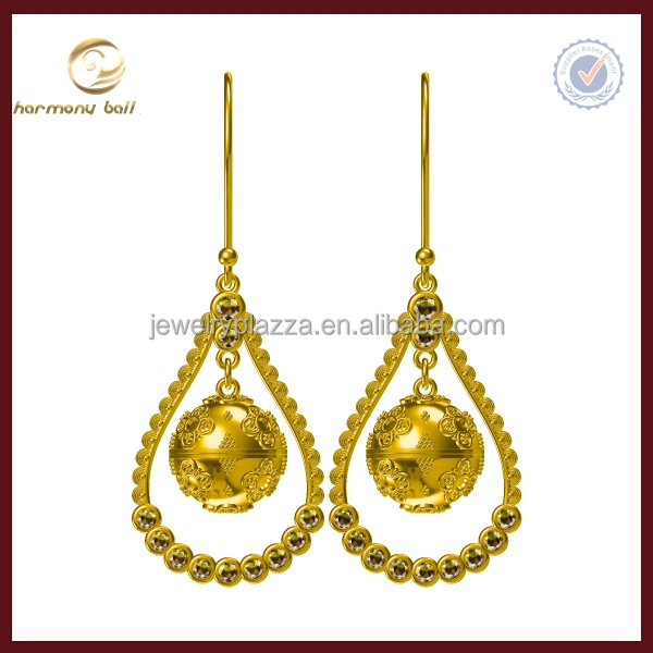 Newest Unique Design yellow gold harmony ball fancy drop hanging earrings