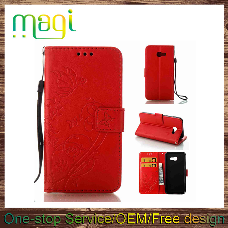 Mobile Phone Accessories Single Embossed PU Leather Flip Case for Samsung A5 2017