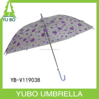 "19"" auto open purple dot print straight POE material Umbrella"