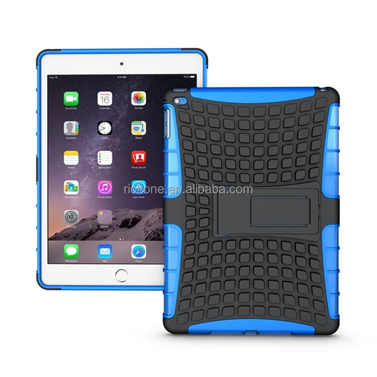 shockproof tablet case for iPad air 2 /for iPad 6, for iPad kickstand armor case , for iPad case silicone