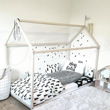 Wood timber house shape bed for boys and girls room
