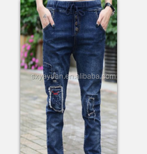 unique design women antique copper rivets jeans factory price