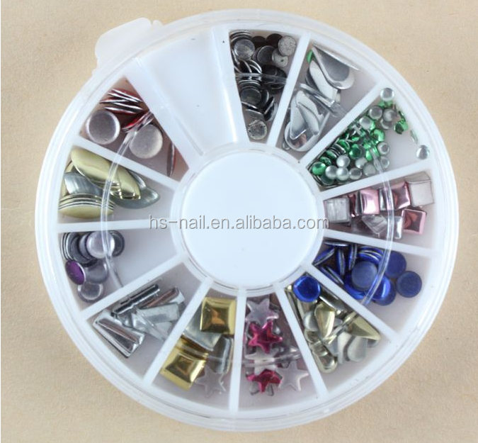 newest mix design nail art metal stud