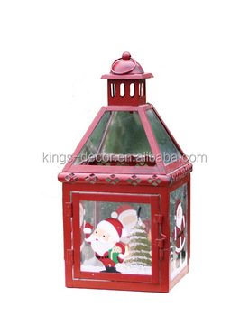 Red small metal candle lantern with snowman for christmas decoration