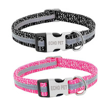 Wholesale Fabric Reflective adjustable Engraved Metal Buckle dog collar nylon