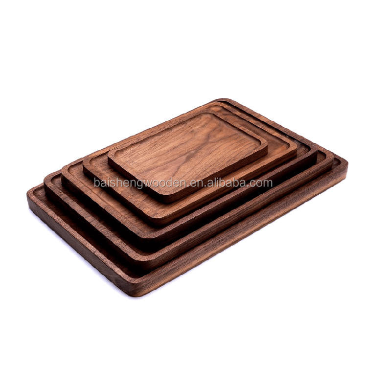 Rectangular Walnut Wood Coffee Serving Tray Wooden Food Trays Wholesale