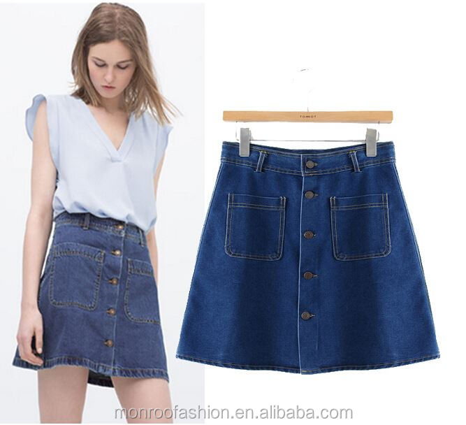 Monroo 100% Cotton women denim overalls skirt high waist fashion long denim skirt