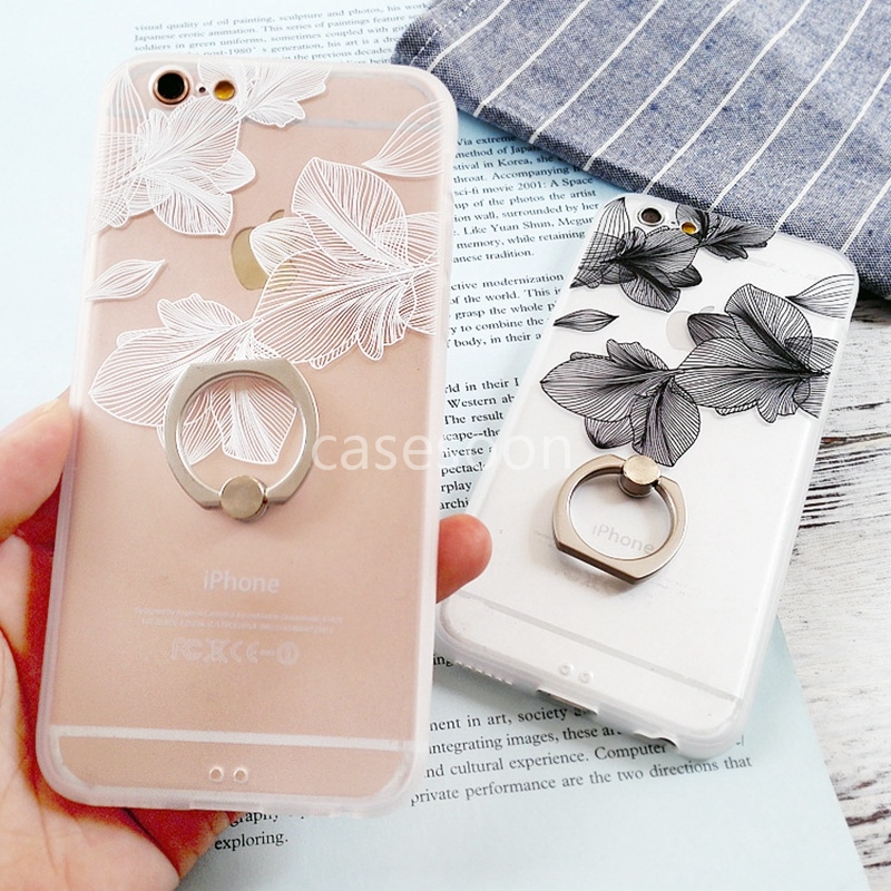 2016 new Hot Black Lace floral Pattern Case For iPhone 6 6s 6plus 6splus Hard Back Cover Cases With Metal Ring Stand phone skin