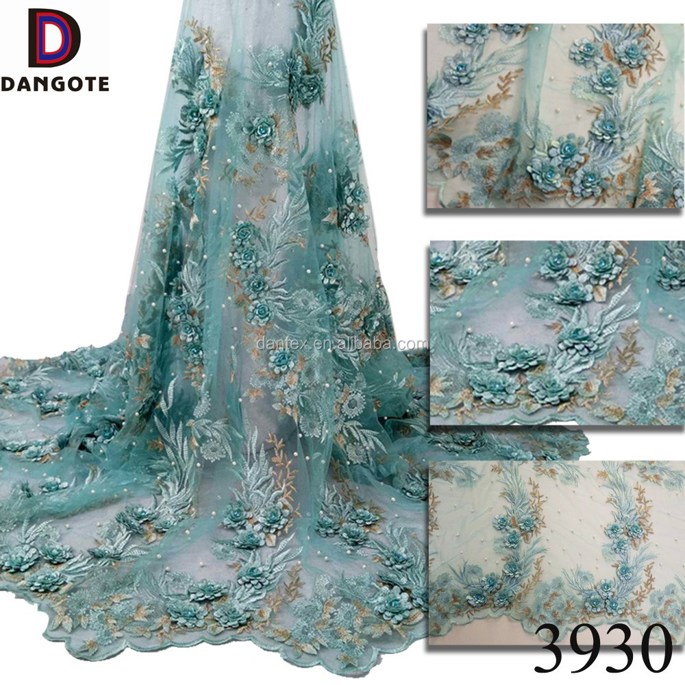 2017 Newest design 3d flower lace high quality aqua color african lace fabrics bridal wedding dress lace 3930