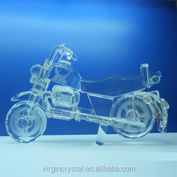 Unique custom 3D crystal motorcycle model gifts for boys